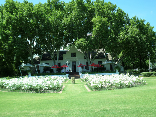 The beautiful rose garden, along with the view of the vineyards and the Drakenstein mountains can not be described.