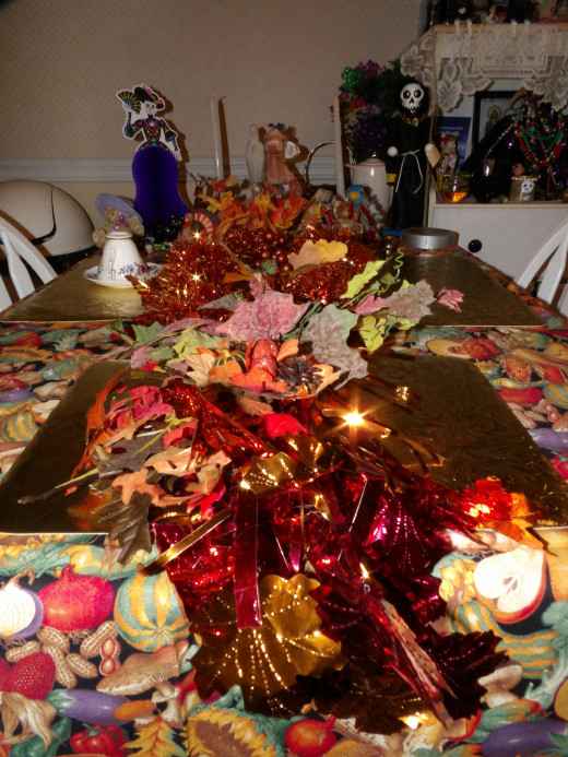 2015 Thanksgiving altar. I went all out this year and as this is a working altar I wasn't giving Hel and Loki the boot. I kept elements that honor Them and added on.