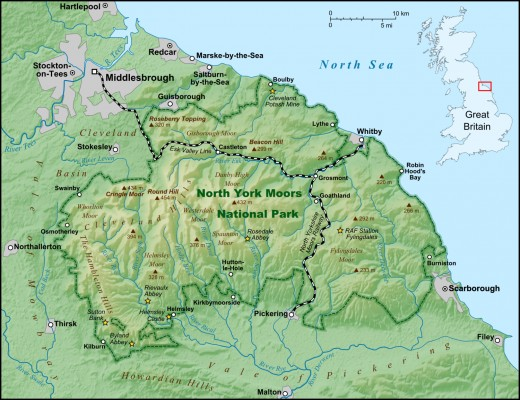 North Yorkshire and Cleveland physical map