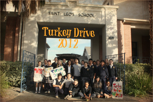 Each November St. Leo the Great School, San Jose, initiates a 1-hour frozen turkey drive drop-off and donates to Sacred Heart Community Service
