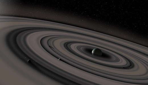 Illustration of J1407b and it's massive ring system.
