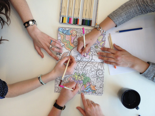 Adults Coloring Together