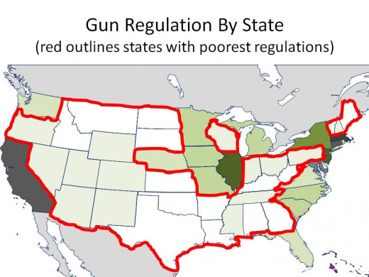THE DARKER THE GREEN, THE STRONGER THE GUN REGULATIONS with TWO WORST GUN REGULATION RANKING CIRCLED - CHART 27