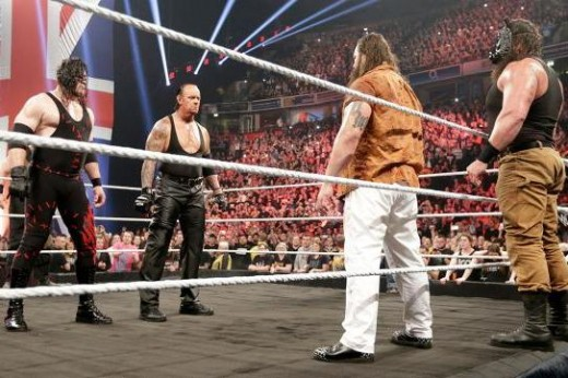 The Brothers of Destruction (left) stand off against Bray Wyatt and Braun Strowman of the Wyatt Family.
