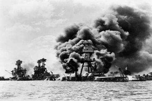 Burning Ships on Pearl Harbor