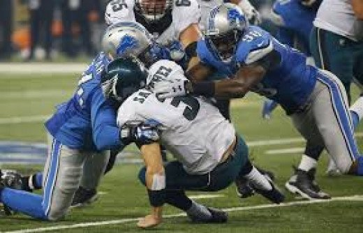 Philadelphia Eagles QB Mark Sanchez was under pressure all game and sacked 6 times