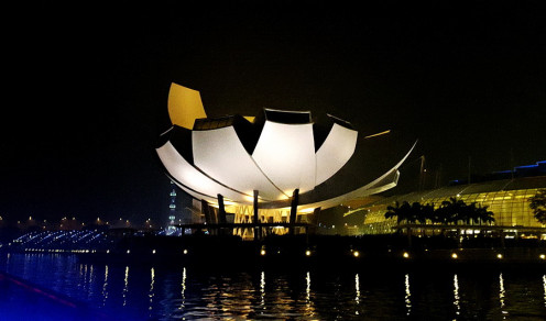ArtScience Museum integrated to Marina Sands hotel. View from our night cruise boat