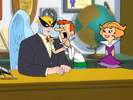 Harvey Birdman with his clients The Jetsons