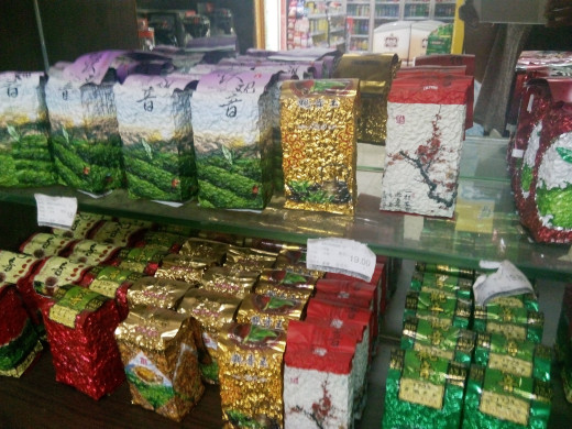Varieties of tea in a Chinese supermarket