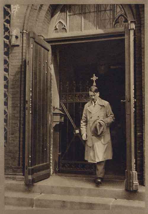 """Atheist"" Hitler leaving church"