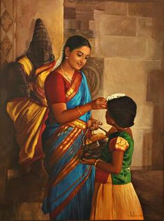 Hema and her mother in a temple.