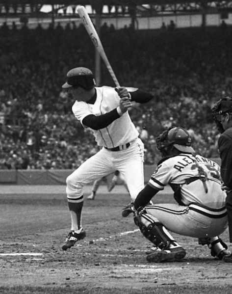 Carl Yastrzemski batting.
