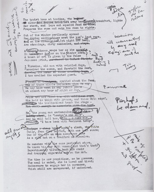 A page of Eliot's work with annotations by Pound.