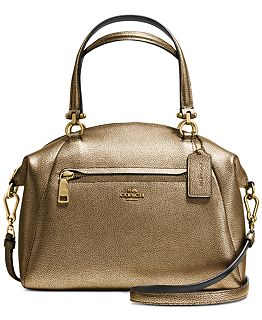 COACH PRAIRIE SATCHEL IN METALLIC PEBBLE LEATHER