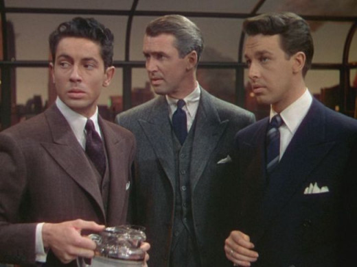 "Stewart (centre) engages in a battle of wits with Granger (left) and Dall (right) in ""Rope"""