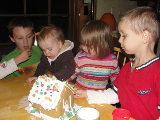 We always decorate a gingerbread house together.