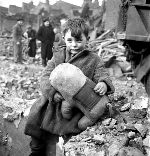 Abandoned boy in the aftermath of the London Blitzkrieg: Sept.7,1940