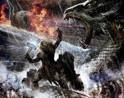 Thor holds Mjollnir, ready to strike Jormungand - another of Loki's infernal offspring!