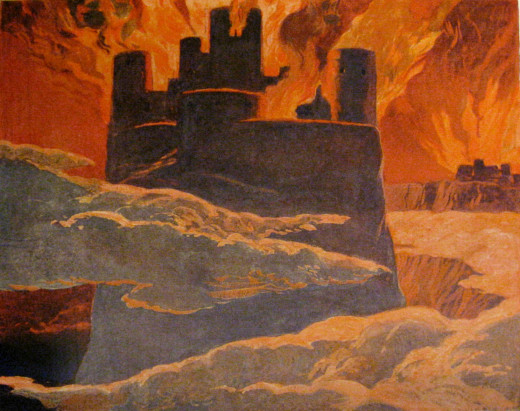Asgard burns in the aftermath of Ragnaroek and the Filmbulvetr - the long winter - will ravage the land for many a year. The sun will not shine on Midgard now the gods have been beaten!