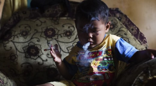 Five-year-old smoking in Indonesia