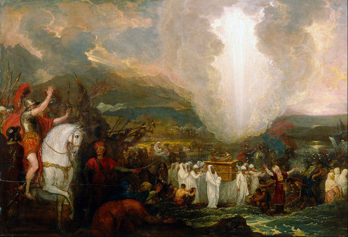 Joshua passing the River Jordan with the Ark of the Covenant by Benjamin West.1800.