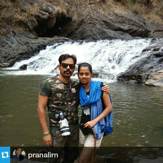 Me and my wife at the Syntheri rocks tourist place inside the Dandeli Anshi Tiger Reserve.
