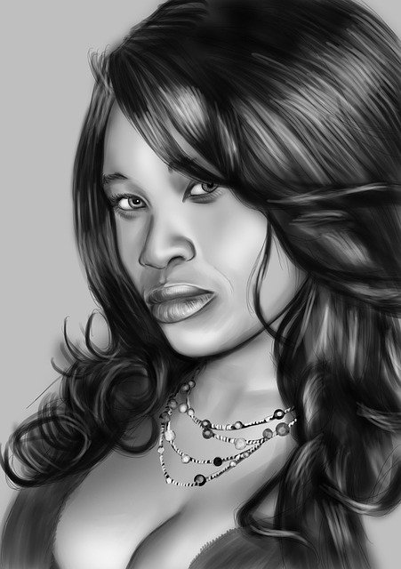 Light and shading add dimension to a portrait.