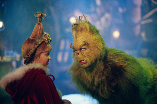 Cindy Lou Who (Taylor Momsen) and the Grinch (Jim Carrey)
