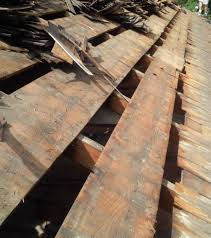 Cedar shake or shingles sit on strapping