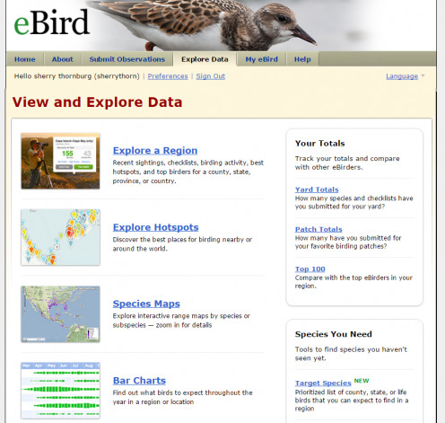 EBird Explore Data Tab