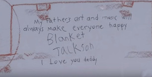 Blanket telling the world about his Daddy's Artwork and Music that it makes everyone happy