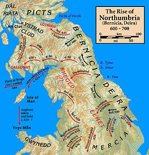 The early campaigns of the Northumbrian kings in and beyond the extended kingdom. More than once a king of Northumbria would be 'Bretwalda' or over-king acknowledged by all the Briton, Gaelic, Saxon and Anglian kings