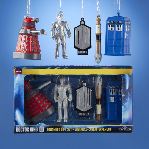 Have fun decorating your Christmas tree or home with these Doctor Who ornaments.  The set includes  A Dalek, A Cyberman, the Doctor Who classic logo, the Sonic Screwdriver, and the TARDIS!