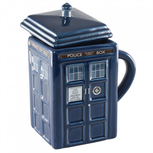 The TARDIS is now a coffee mug with a lid -