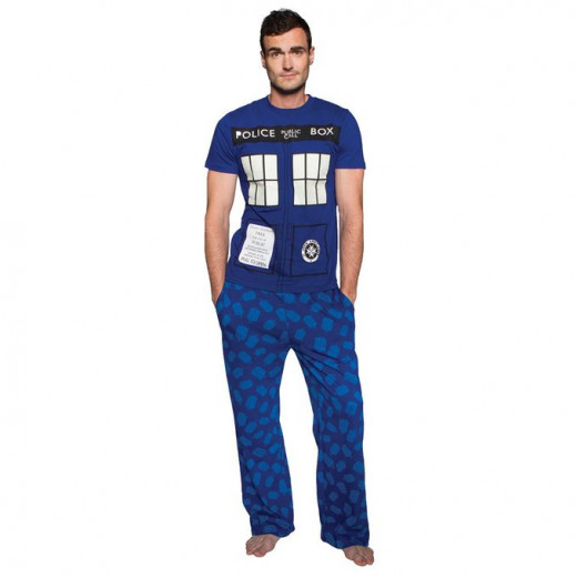 TARDIS pajamas that glow in the dark are a great gift idea for a Doctor Who fan, sometimes these people are called Whovians.