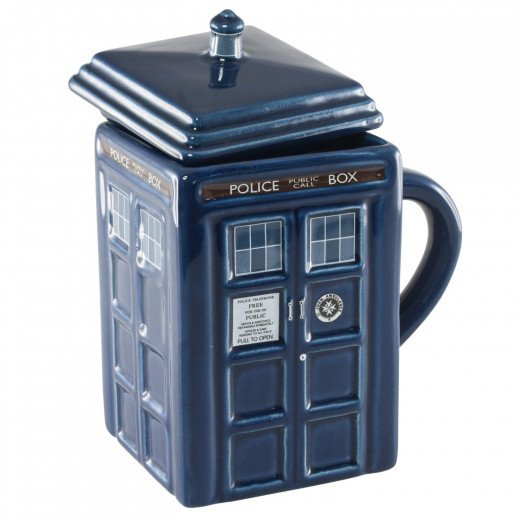 The TARDIS is now a coffee mug with a lid,  just what you need to keep your coffee warm while you travel in time and space.