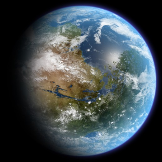 An artist's impression of a terraformed Mars centered over Valles Marineris. The Tharsis region can be seen of the left side of the globe.