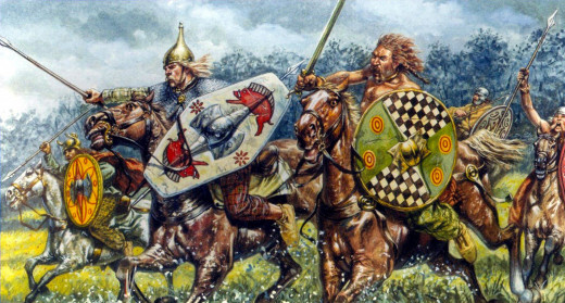 The massed Caledonian Scots and Picts make a headlong charge at Ecgfrith's Northumbrians, defeating them at Nechtanesmere (Dun Nechtan) in AD 685
