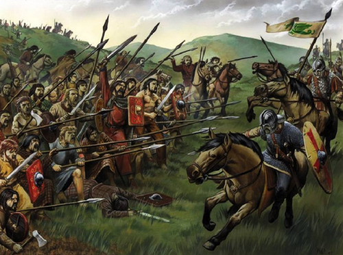 Northumbrian horsemen turned aside at Dun Nechtan by a solid wall of shields and spears before...
