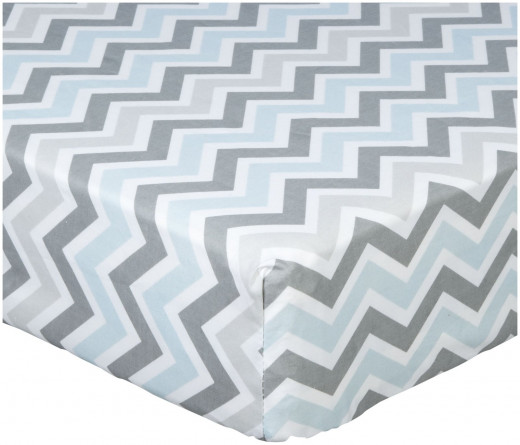American Baby Company 100% Cotton Percale Fitted Crib Sheet, Blue Zigzag