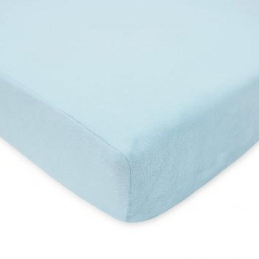American Baby Company Heavenly Soft Chenille Crib Sheet, Blue