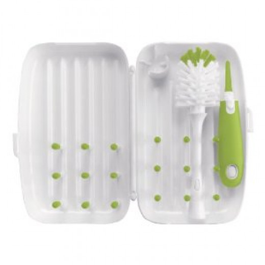 OXO Tot On-the-Go Travel Drying Rack with Bottle Brush, Green