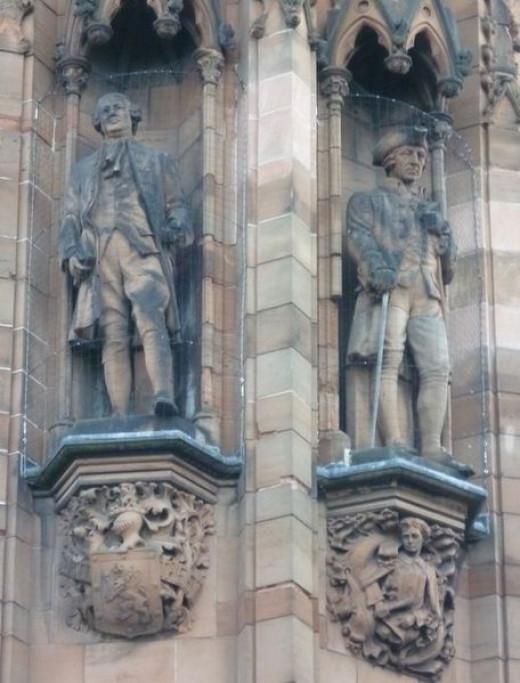 David Hume and Adam Smith statues, Scottish National Portrait Gallery, Edinburgh, Scotland