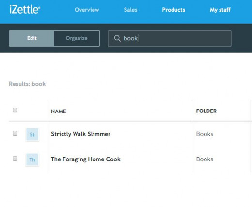 My product inventory on iZettle