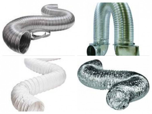 Starting from the top left:  #1 All Aluminum, Hard Shell Flex Duct, -  Approved!  #2 All Aluminum, Hard shell  Flex Duct with 90 degree rotating heads - Approved!  #3 White Vinyl, Wire Flex Tube - Do Not Use!  #4 Wire Aluminum Paper Foil - Do Not Use
