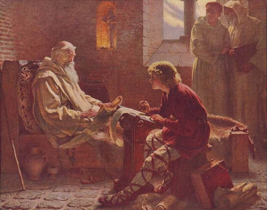 In his twilight years Bede dictates to a young novice.