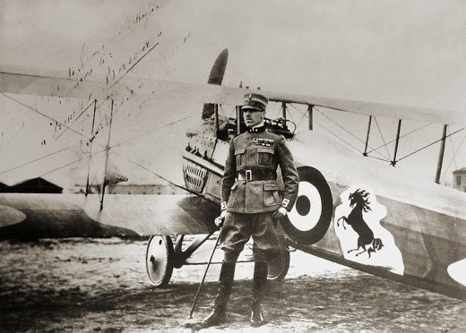 Francesco Baracca posing by his SPAD S.XII