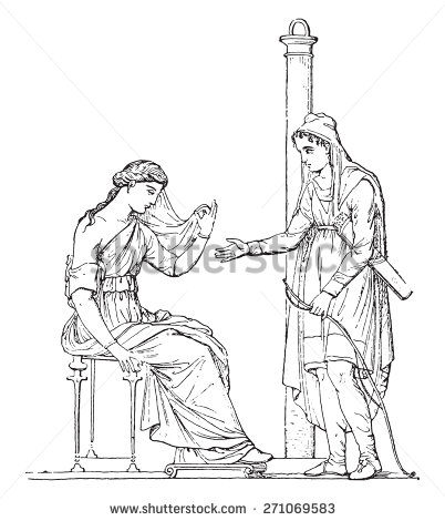 Paris and Helen (after of an ancient painting), vintage engraved illustration.