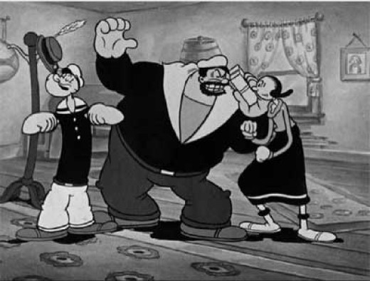 Popeye, Bluto and that tease Olive Oyl