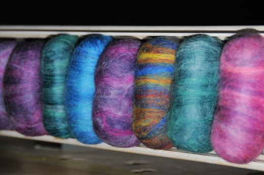 Wet felted soap drying on a radiator